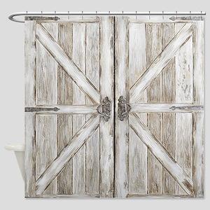 Distressed Barn Doo Wood Plank Tile Shower Curtain