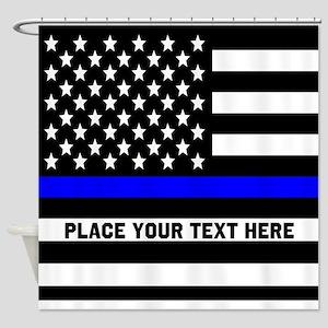 Thin Blue Line Flag Shower Curtain