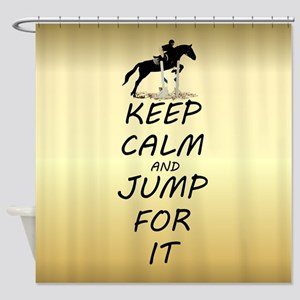 Keep Calm and Jump For It Horse Jumper Shower Curt
