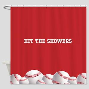 Red Baseball Shower Curtain