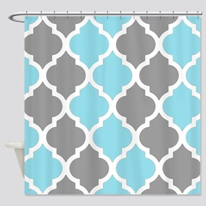 Gray and baby blue quatrefoil pattern Shower Curta