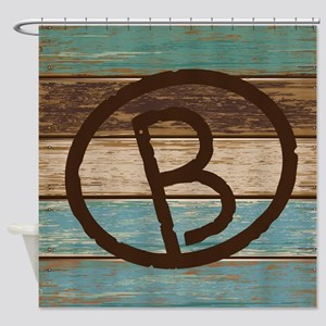 Branding Iron Letter B Wood Shower Curtain