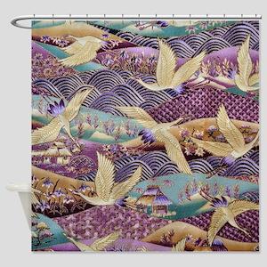Flying Crane Fabric Shower Curtain