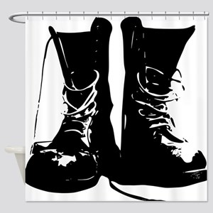 Black Leather Combat Dirty Boots with Laces Shower