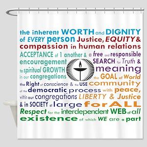 UU 7 Principles Shower Curtain