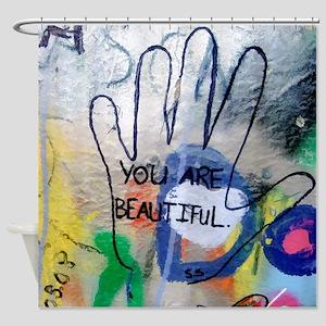 You Are Beautiful Graffiti Shower Curtain