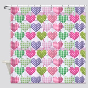 Gingham Hearts Pastel Pattern Shower Curtain