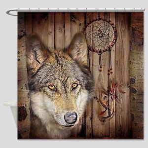 vintage Americana wild wolf  Shower Curtain