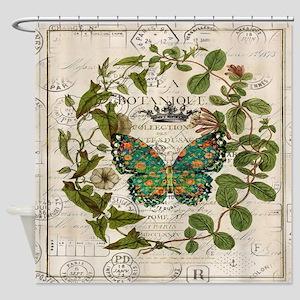 vintage botanical art butterfly Shower Curtain