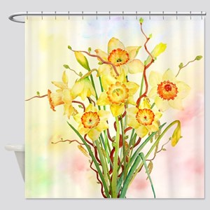 Watercolor Daffodils Yellow Spring Shower Curtain