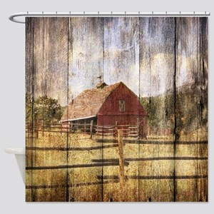 farm red barn Shower Curtain