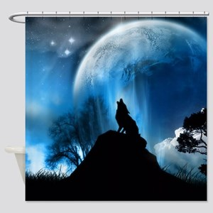 Wolf Howling At The Moon Shower Curtain
