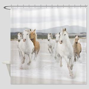 Horses Running On The Beach Shower Curtain