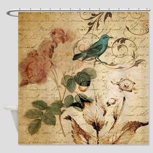 teal bird vintage roses swirls bota Shower Curtain