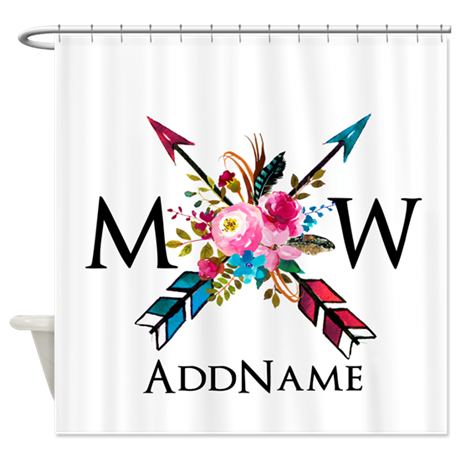 Boho Chic Arrow Monogram Shower Curtain By So