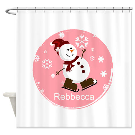 Cute Personalized Snowman Xmas gift Shower Curtain