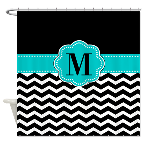 Black Chevron Monogram Shower Curtain