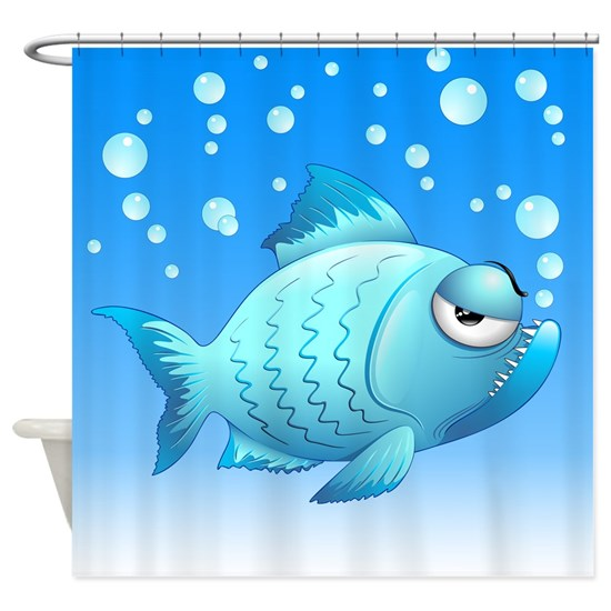 Grumpy Fish Cartoon Shower Curtain By Bluedarkart Cafepress