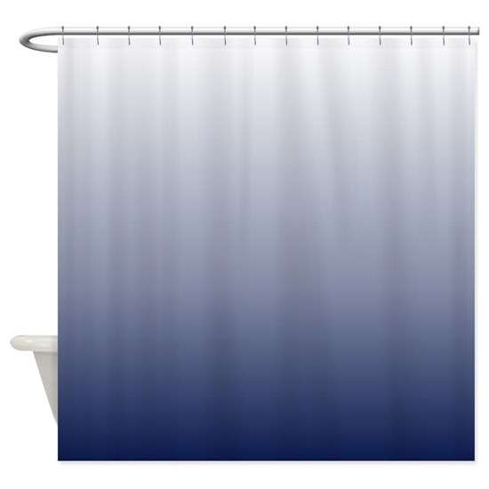Ombre Navy Blue Shower Curtain By