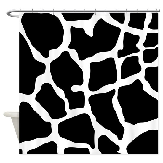 Black And White Giraffe Print Shower Curtain By Zoetic Living Cafepress