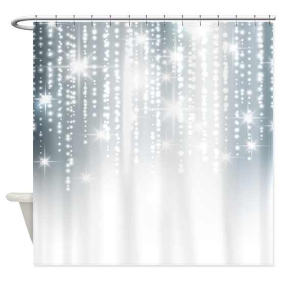Silver Glitter Shower Curtain By