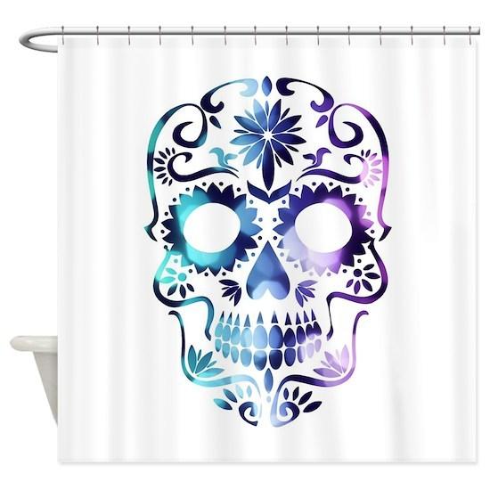 Blue Purple Sugar Skull Shower Curtain By Got2lovnnature Cafepress
