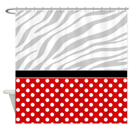Red Polka Dot Faded Zebra Print Shower Curtain By