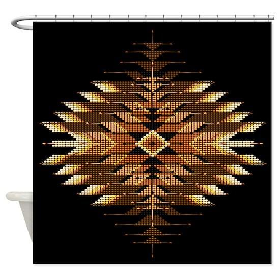 Native Style Orange Sunburst Shower Curtain by Naumaddic ...