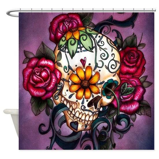 Sugar Skull Shower Curtain By Anniesbohoboutique Cafepress