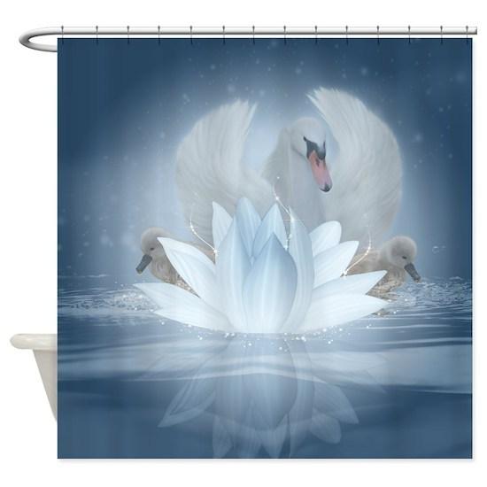 Swan Song Lotus Fantasy Art Shower Curtain