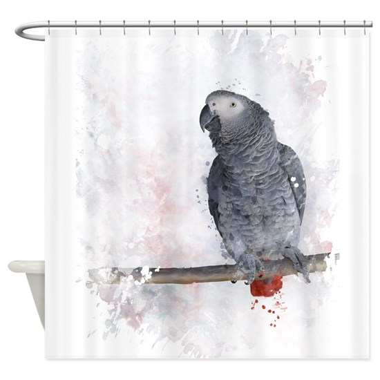Watercolor African Grey Parrot