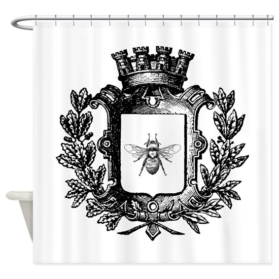 French Bee Crest Shower Curtain by A Bit of Vintage