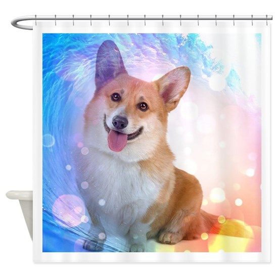 Smiling Corgi with Blue Wave