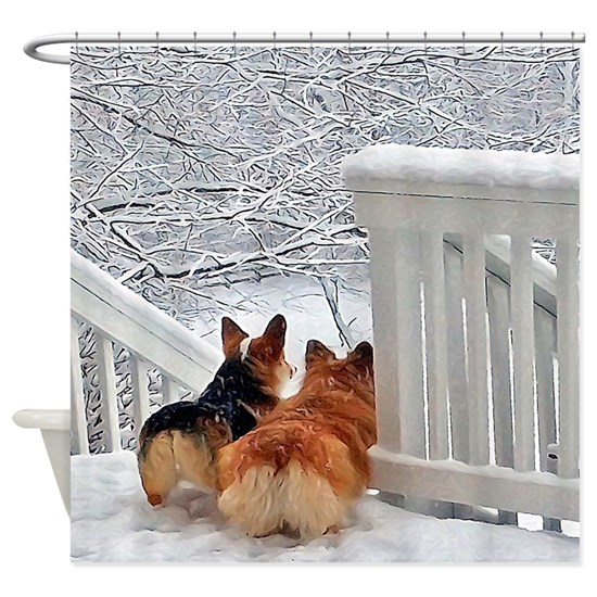 Two Corgis in winter snow
