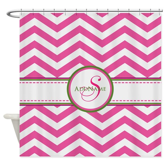 Pink Monogram Chevron Stripe