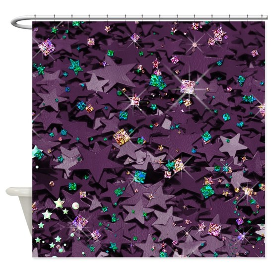 Purple  Multi Colored Sparkly Stars Shower Curtain