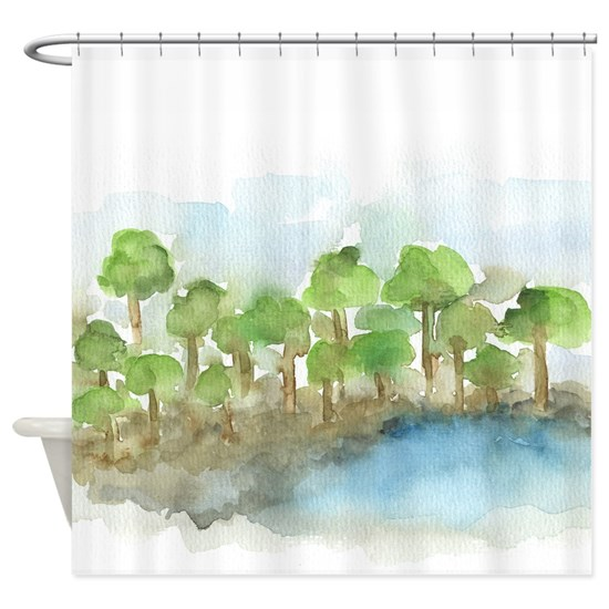 Trees by the sea 1 - shower curtain