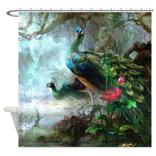 Painted Couple Peacock Wedding Gifts Unique Delicate Home: Beautiful Peacock Painting Shower Curtain By Daecu