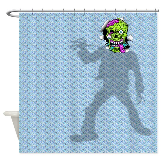 Lucifer Zombie Wedding: Zombie Head Through Shower Curtain Shower Curtain By Dave