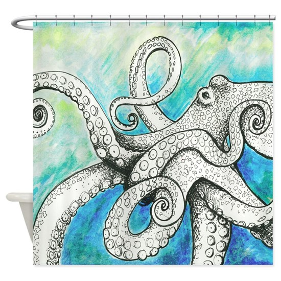 Wild Blue Octopus Shower Curtain By SmilingBuddha