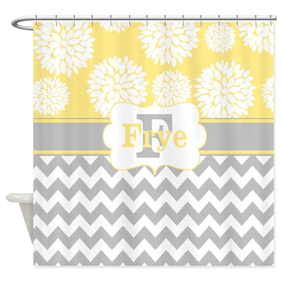 Gray Yellow Blooms Chevron Personalized