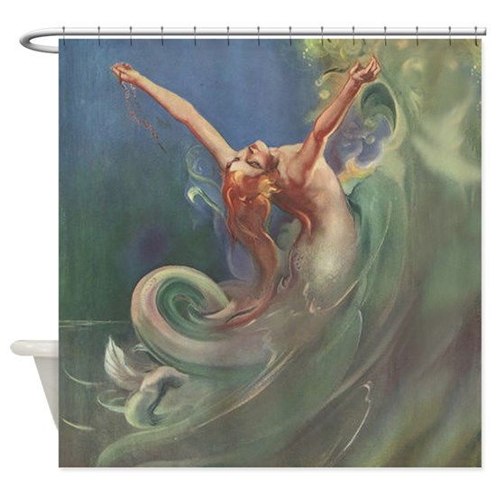Mermaid Gifts Mermaid Decor Mermaid Art Print Mother S: Vintage Mermaid Art Shower Curtain By SmilingBuddha