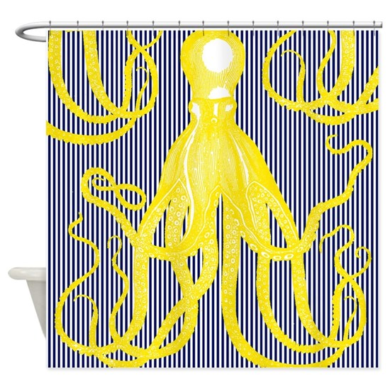 Antique Octopus - Yellow on Navy and White Stripes