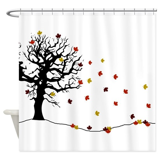 Autumn tree and falling leaves Shower Curtain by i beleive