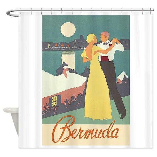 Anniversary Vacation In Bermuda: Bermuda, Dancing, Travel, Vintage Poster Shower Cu By