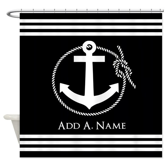 Black and White Nautical Rope and Anchor