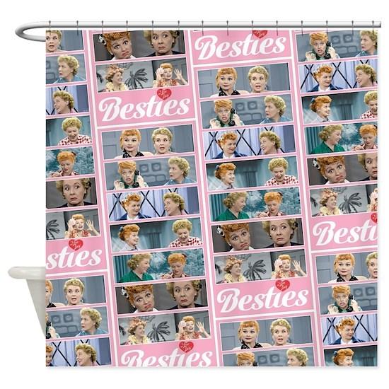 I Love Lucy: Besties Pattern Shower Curtain