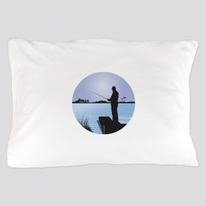 Silhouette of Fisherman at Lakeside Pillow Case