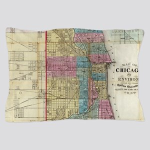 Vintage Map of Chicago (1869) Pillow Case