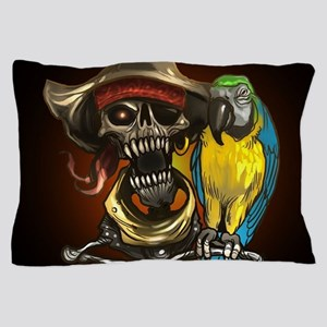 J Rowe Pirate and Parrot Black Backgro Pillow Case